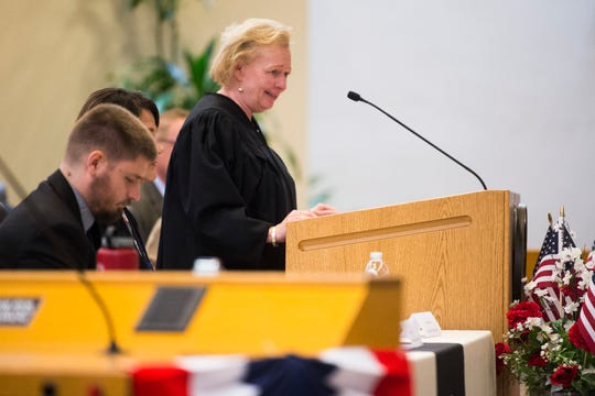 Judge Pamela Reeves speaks at Knoxville's third naturalization ceremony of the year, at the City County building in Knoxville, Wednesday, July 3, 2019.