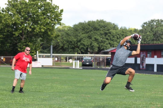 Gueydan standout Lane Breaux goes up for a catch during practice.