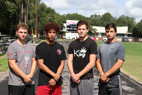 Gueydan football standouts (from left to right) Gabe Carlson, Cameron Istre, Trip Hanks and Lane Breaux.