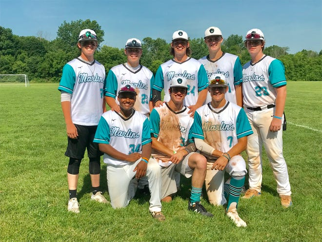 Area players playing for the 17U Midwest Marlins baseball team include, front row, left to right: Caleb Peck , Casey Finck and Evan Sines. standing, L-R: Brendan Hutton, Caleb Boring, Wes Ward, Blaine Keener and Nick Congrove.