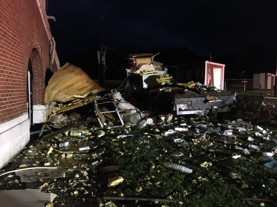 Debris from a refrigerator truck explosion was strewn more than 100 feet away from the truck Wednesday morning, July 3, 2019, at the Fairfield County Fairgrounds. Fire investigators believe a propane leak inside the truck was ignited by an electrical spark setting off the explosion. No one was injured, but several buildings and food stands and trailers were damaged.