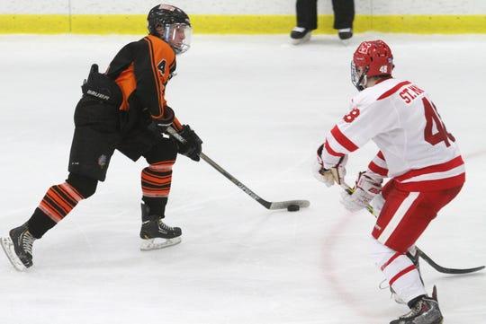 Jay Keranen (4) played three seasons of junior hockey after graduating from Brighton.