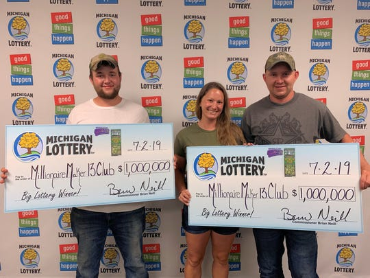 Dillan Dybilas, 20, (left) and Robert Sopsich, 30, (right) won $1 million off a scratch-off lottery ticket.