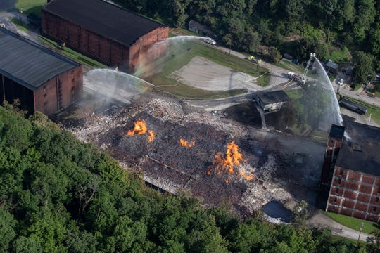 The scene of a bourbon warehouse fire at a Jim Beam distillery in Woodford County, Ky.  July 3, 2019