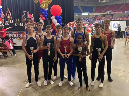 USTA (United States Trampoline and Tumbling Association) All Star Team from Champion Gymnastics: Hayden Staebler, Collin Ryan, Brookelynn Gittings, McKinley Trent, Davin Logsdon, Holly Hosey, Hayden Rogers, and Carolina Juarez (not pictured)