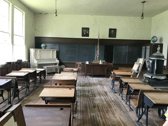 The inside of Hurd School, built in 1886, looks much like it did a century ago. Owners Linda and Dick Williams filled the schoolhouse with antique desks and other items.