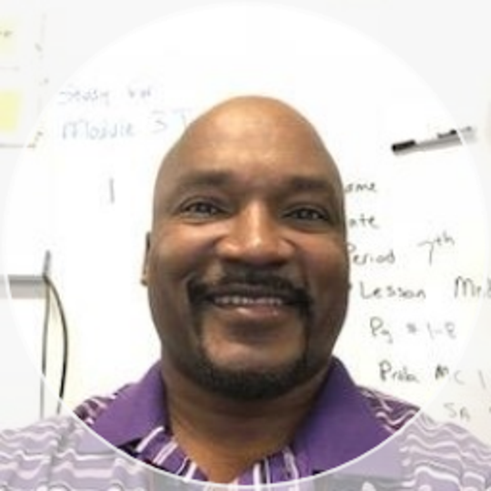 Bernell Jones, a former Marine, teaches seventh grade math at White Station Middle School, where he's been teaching for about 16 years . He worked as a computer specialist in the Marines before moving on to middle school math.
