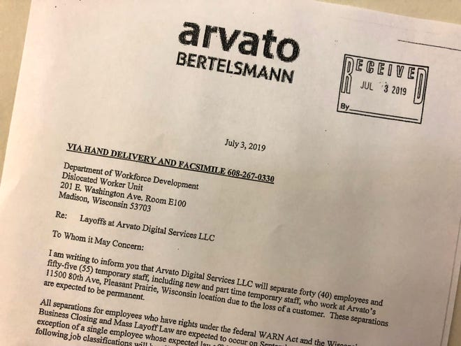 Arvato Digital Services LLC will cut 95 jobs at its distribution center in Pleasant Prairie.