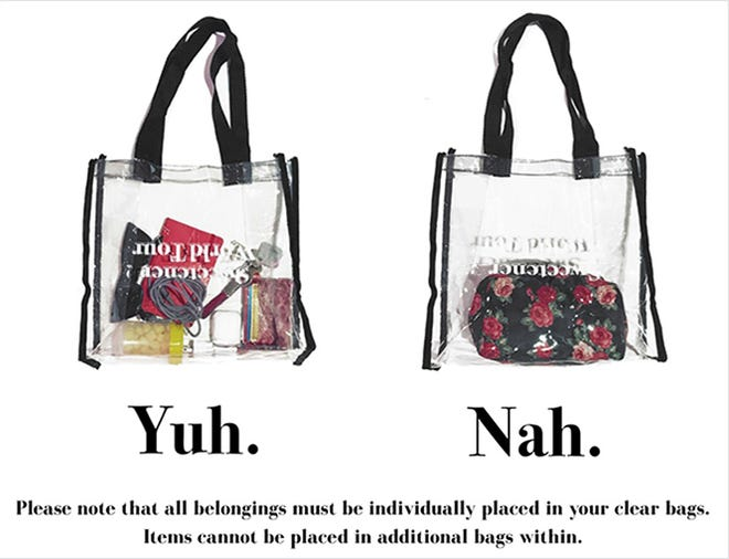 An example of Ariana Grande's tour policy for clear bags is seen.