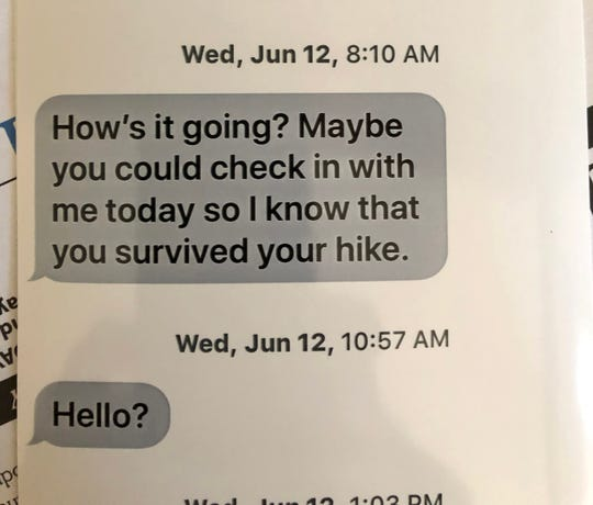 Lynn Kalista became increasingly worried when she could not reach her husband in Las Vegas. She sent these texts to him on June 12, the day before reporting him missing.