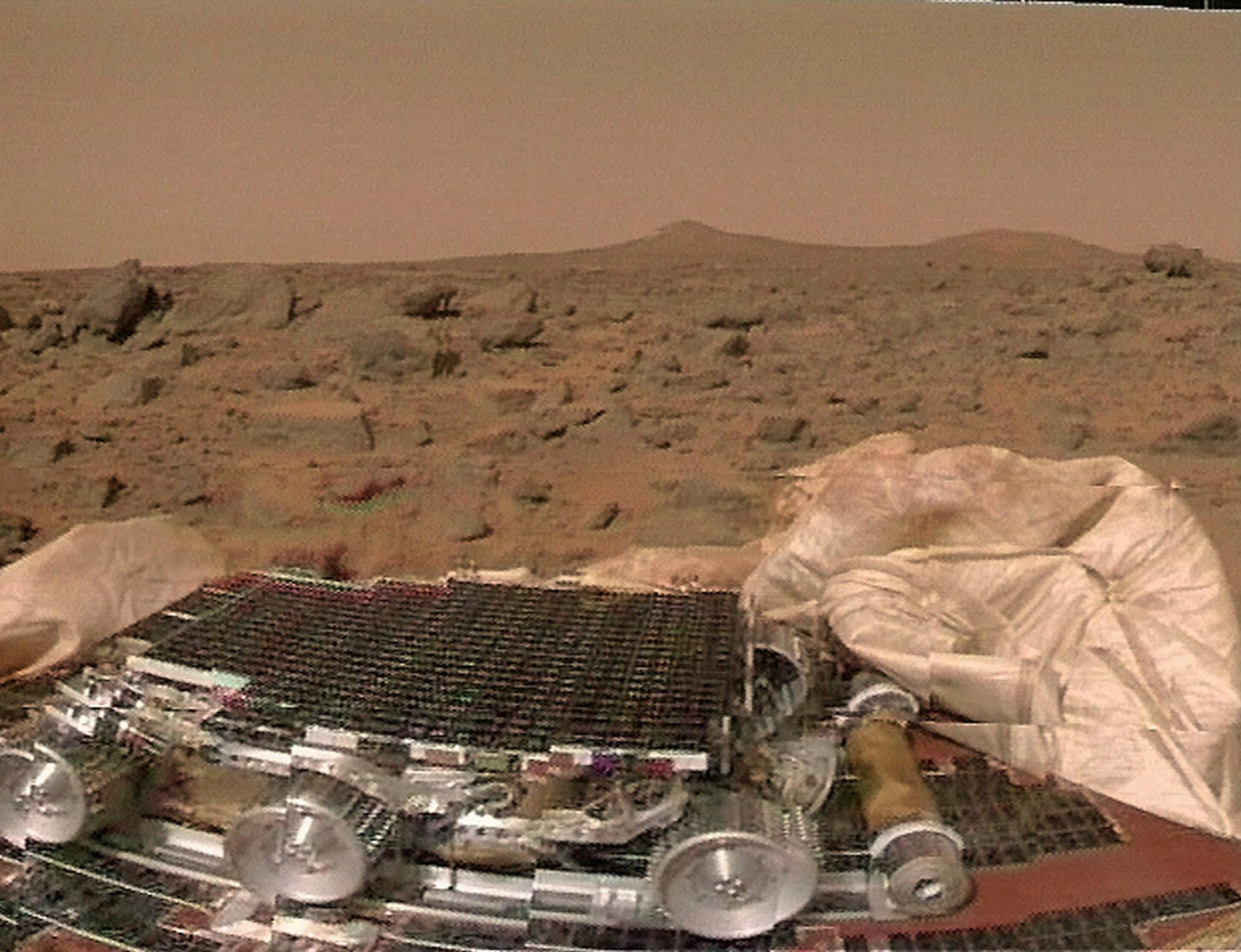 1997: The surface of Mars is shown in this image transmitted to Earth from the Mars Pathfinder probe on Friday, July 4 This NASA image represents the first time since 1976 images of Mars' surface have been sent to Earth.