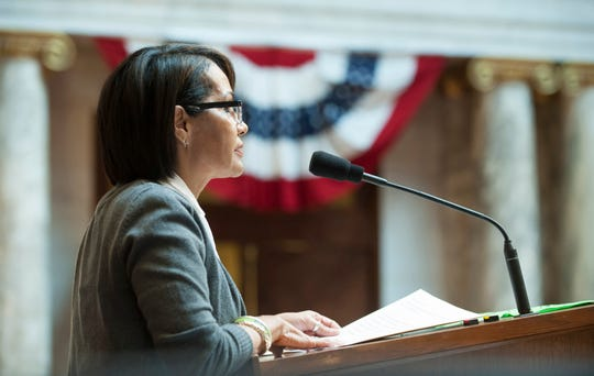 """Brenda Wesley, then director of education and outreach for NAMI of Greater Milwaukee, addresses the state Assembly in 2016 after receiving the """"Hometown Hero"""" award on Feb. 9."""