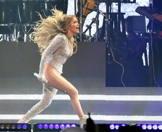 Jennifer Lopez performs during a stop of her It's My Party tour at T-Mobile Arena on June 15, 2019 in Las Vegas, Nevada.