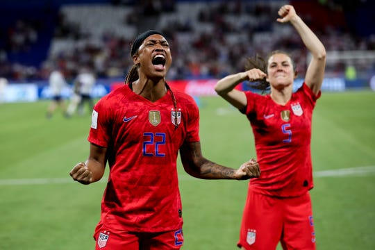 United States' Jessica McDonald (left) and Kelley O'Hara celebrate after the U.S. team won the Women's World Cup semifinal soccer match against England Tuesday, 2-1, at the Stade de Lyon outside Lyon, France. The U.S. advanced to the World Cup finals, being played at 10 a.m. Sunday.