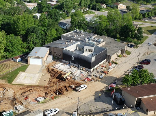 Construction on the new wing of the Baxter County Detention Center is seen in this May 26 aerial photo. The additional space will add about 50 beds to the jail's 100-bed population.