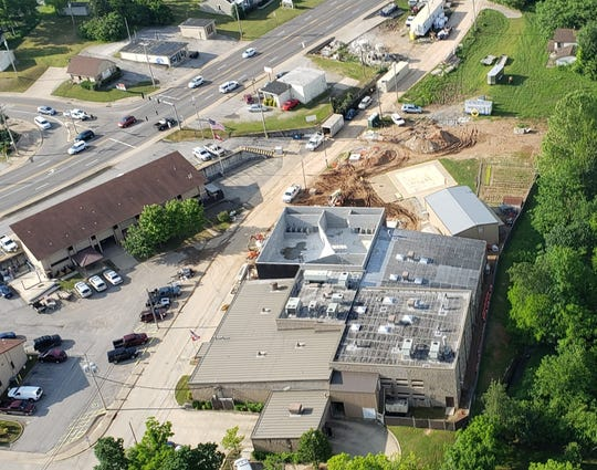 Construction work on the Baxter County Detention Center is seen in this May 26 aerial photo. The jail's new wing is expected to be completed in early September, with the entire project estimated to be completed by late November.