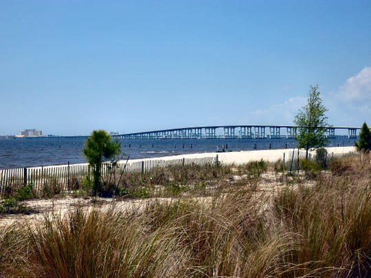 Front Beach in Ocean Springs, Miss., is one of 21 beaches closed on the state's Gulf Coast.