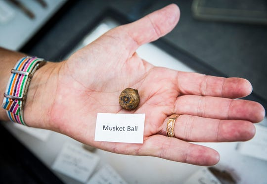 Ball State professor and archeologist Christine Thompson recently returned from a survey at Fort Recovery in Ohio with battlefield artifacts from the late 1700s. The artifacts, which include pieces of a musket, lead shot and clothing items are believed to be the remnants of a battle between Native Americans and white settlers.