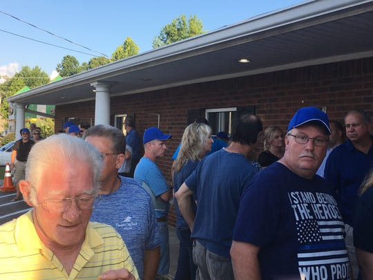 Residents were lined up around the building waiting to get into the Ridgetop BOMA meeting where the board plans to discuss the police department on July 2.