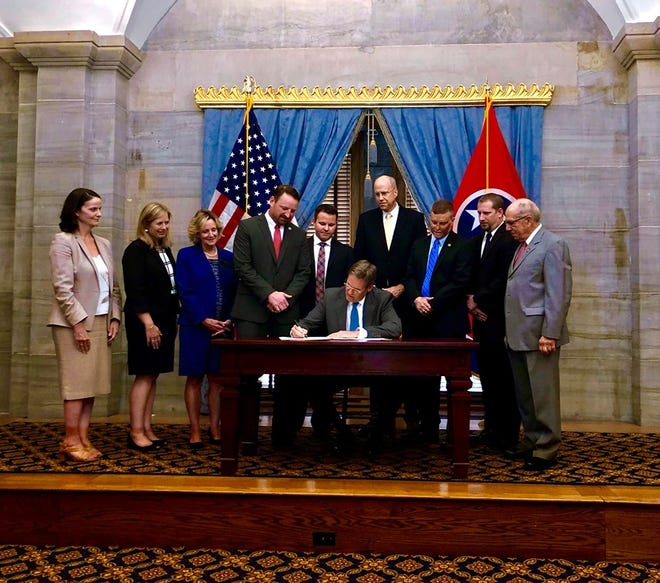 Williamson County school administrators, juvenile court, sheriff's office and state officials were present when Gov. Bill Lee signed House Bill 1158 into law that will help mitigate threat at schools across the state. Williamson County took the lead in devising a three-tiered protocol that the state suggests as a model for school districts.