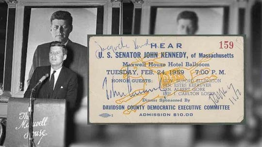 A rare admission ticket from a Democratic party banquet signed by John F. Kennedy, Jacqueline Kennedy and Robert Kennedy in downtown Nashville.