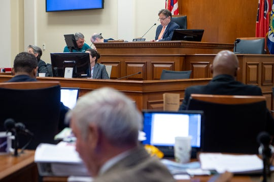 Jim Shulman listens during a Nashville Metro Council meeting at the David Scobey Council Chamber Tuesday, July 2, 2019, in Nashville, Tenn.