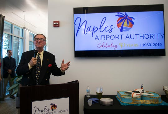 Retired Master Sergeant and Air Force One Chief Steward Howie Franklin tells anecdotes from his time serving Presidents on Air Force One at the Naples Airport's 50th anniversary celebration on Wednesday, July 3, 2019.