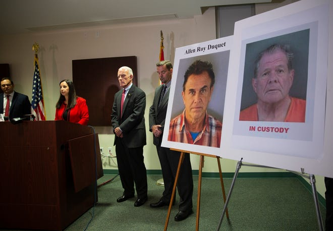 Judicial Circuit State Attorney Amira Fox, second from left, announces the arrest of  Allen Roy Duquet, 68, of Collier County, and Joseph Bernard Charde, 72, of Lee County, on Wednesday, July 3, 2019, at the State Attorney office in East Naples. Both men are suspected to be involved in a multi-million dollar 'Ponzi scheme'.