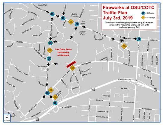 A map shows road closures and where traffic will be diverted in Newark for those exiting the July 3 fireworks at OSU-Newark and COTC campus.