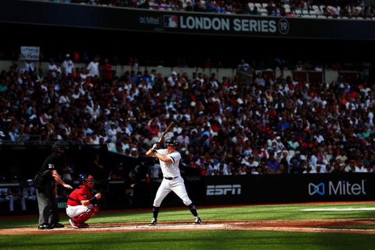 DJ LeMahieu #26 of the New York Yankees bats during the MLB London Series game between Boston Red Sox and New York Yankees at London Stadium on June 30, 2019 in London, England.