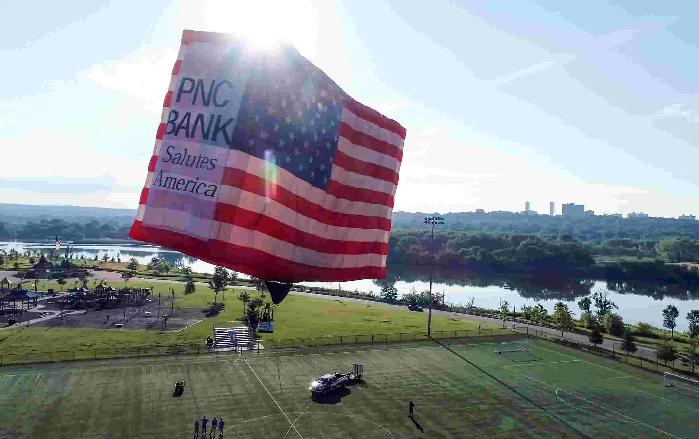 Giant American Flag hot air balloon in Overpeck Park