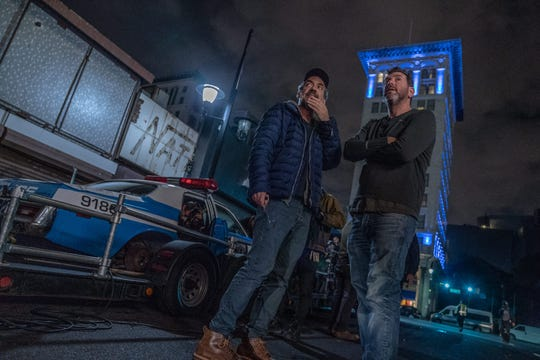 "Director Todd Phillips, with Lawrence Sher filming ""The Joker"" in Jersey City"