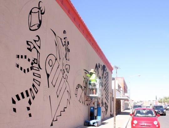 Deming High art teacher Jessie Kriegel has been commissioned to paint the mural on the side of the former Radio Shack Building on the corner of Gold and Spruce streets in downtown Deming. The mural is part of Deming MainStreet's downtown beautification project to help bring visitors to the downtown retail district. Kriegel is working on a Mimbreño Culture theme – a tribe of indigenous people who settled in the Mimbres Basin sometime between 1100 to 1400 years ago.