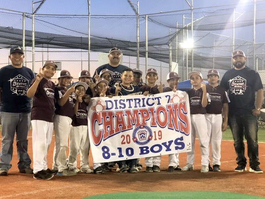 Deming Little League All-Stars are headed to the New Mexico State Tournament in Albuquerque. The Minor Division (ages 8 to 10) boys captured the New Mexico District 7 Championships with a victory over the Bayard Copper League All-Stars on June 27 at Scott Park in Silver City. The Deming All-Stars are scheduled to meet the Shorthorn All-Stars of Carlsbad, NM in the opening round of the double-elimination bracket on July 12.