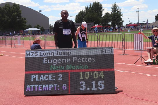 Eugene Pettes after winning second place in the long jump at the National Senior Games (NSG) in Albuquerque earlier this month.