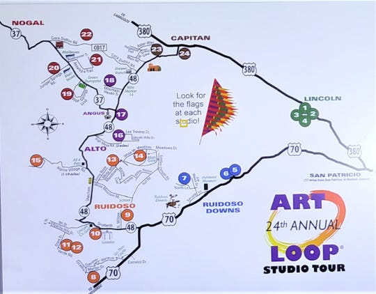 Stops are designated on the 24th Annual Lincoln County Art Loop Studio Tour.