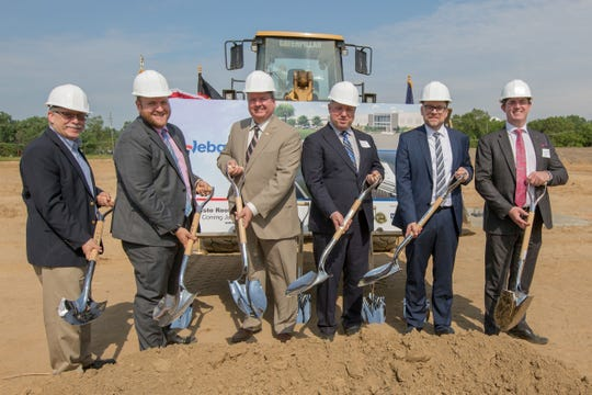 Wayne County Business Development Manager David Schreiber, MEDC Vice President of Growth & Development Ryan Michael, Plymouth Township Supervisor Kurt Heise, Hillside Investments CEO Jaimey Roth, Webasto President & CEO Andre Schoenekaes, Webasto Vice President of operations Anthony O'Donovan at the ceremonial groundbreaking.