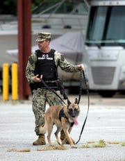 Petty Officer 2nd Class William Rogacki trains Wednesday with a military working dog named Fello at Naval Air Station Pensacola. Rogacki was named the Navy's Handler of the Year for the Southeast Region.