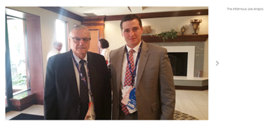Screengrab from demanddaniel.com showing Daniel McCarthy with former Sheriff Joe Arpaio.