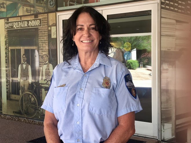 Gretchen Chalmers was the first female firefighter hired by the Tempe Fire Department in 1993. She retired Tuesday after 26 years of service.