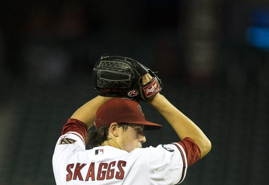 Tyler Skaggs pitches for the Diamondbacks at Chase Field in 2013.
