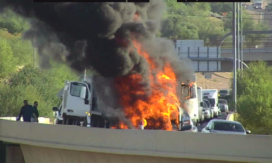 A dump truck fire temporarily closed the Loop 101 ramp onto U.S. 60 on July 3, 2019.
