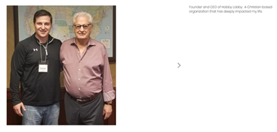 Screengrab from demanddaniel.com showing Daniel McCarthy with Hobby Lobby founder and CEO, David Green.