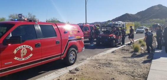 Buckeye police worked with multiple fire departments to rescue two elderly people who were found in a vehicle stuck in a wash in Buckeye on July 2, 2019.