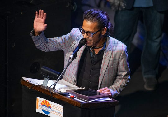 Lawrence Zubia of the Pistoleros thanks the fans during the Arizona Music & Entertainment Hall of Fame Induction Ceremony at the Tempe Center for the Arts July 2, 2019.