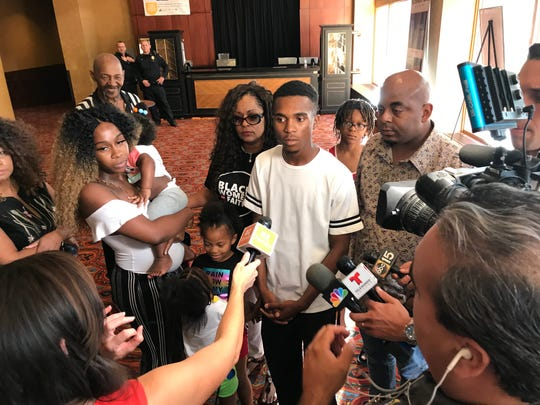 Jarrett Maupin, a community activist, holds a small news conference in the lobby of the Orpheum Theatre while the Phoenix City Council held its special meeting on  July 2, 2019.