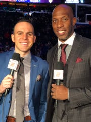 Ryan Ruocco broadcasts an NBA game for ESPN alongside analyst Chauncey Billups.