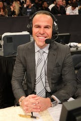 Fishkill's Ryan Ruocco, photographed broadcasting a Brooklyn Nets game in March 2018, will fill in for John Sterling this week as the Yankees radio voice.