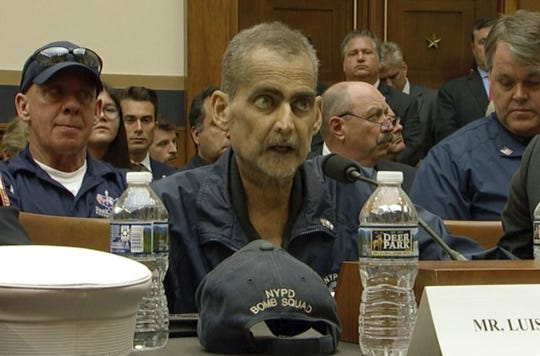 "This still image taken from video shows Retired NYPD Detective and 9/11 Responder, Luis Alvarez speaks during a hearing by the House Judiciary Committee as it considers permanent authorization of the Victim Compensation Fund, on Capitol Hill in Washington, Tuesday, June 11, 2019. Alvarez, who was a leader in the fight for the Sept. 11 Victims Compensation Fund died Saturday, June 29 at age 53. Alvarez's death from cancer was announced by Chief of Detectives Dermot Shea, who tweeted that Alvarez was ""an inspiration, a warrior, a friend."""