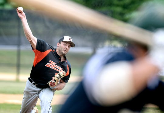 Stoverstown's Trevor Farrell, seen here in a file photo, pitched six innings of two-hit, shutout ball to get the win in the Tigers' 4-0 victory over York Township on Saturday. He struck out eight and walked two.